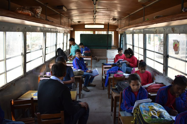A busy day in class for Mobile School students in Gurgaon.